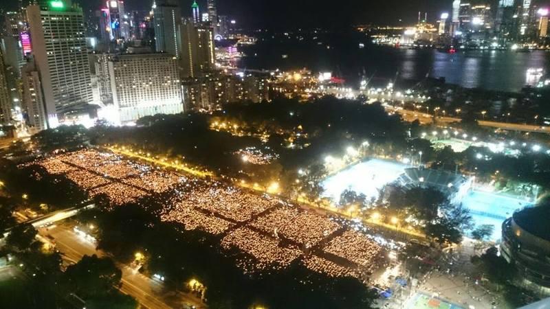 支聯會公佈是次六四悼念活動出席人數為12.5萬人,為09年以來最少。(蔡雯文/大紀元)