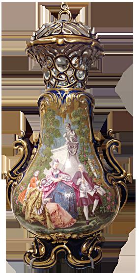 英國的切爾西(Chelsea)陶瓷廠出品的大花瓶,畫面是貴族家庭的戶外踏青。(圖片翻攝:Juliet Zhu/大紀元)